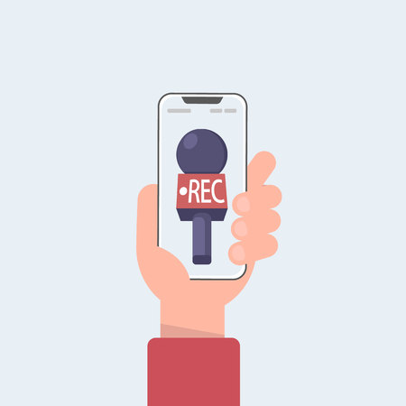 news TV cell phone and live in mobile phone with camera frame. rec and record cartoon. hand and mic vector. Vector illustration in cartoon style.