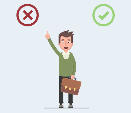 Businessman chooses no checkboxes. Selection, businessman and red box no . Vector illustration in cartoon style.