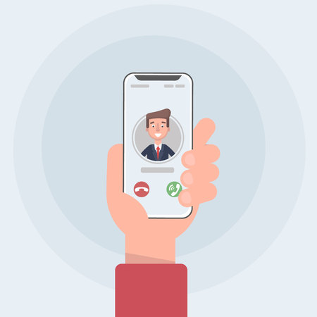 Incoming call on smartphone screen. Flat design vector illustration. Calling service. Modern concept for web banners, web sites, infographics. Creative flat design vector illustration. Vector illustra  イラスト・ベクター素材