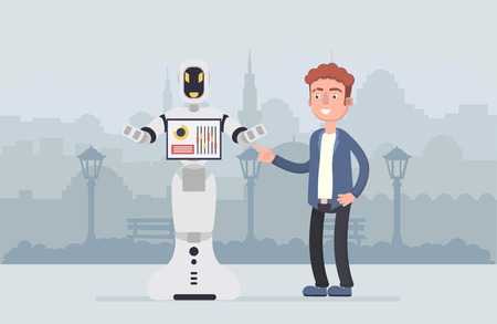 Human vs robot,Businessman standing with robot. Concept business automation future illustration. Vector cartoon character and abstract. Vector illustration in cartoon style.