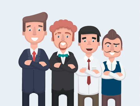 Businessman doing different gestures. Character vector design.Vector illustration in cartoon style.  イラスト・ベクター素材