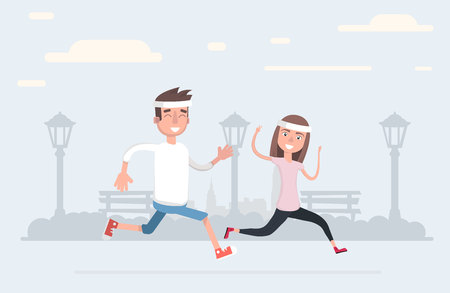 Man and woman in sportswear running on the park with a white background flat style Vector illustration  イラスト・ベクター素材