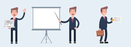 Businessman on different gestures. Character Vector illustration in cartoon style  イラスト・ベクター素材