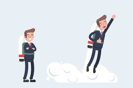 Creative character design on businessman using jet pack and lifts off the ground. Career boost concept vector illustration
