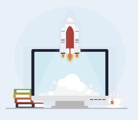 Start-up  computer  books  rocket Flat design vector illustration  イラスト・ベクター素材