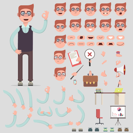 Vector symbol of a man for creating scenes. Creation of the character of a different kind, emotions of the person, lip synchronization, postures and gestures. Parts of the body template for animation