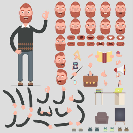 Creating a character for a young man with different kinds, human emotions, postures and gestures. Cartoon style, flat vector illustration.  イラスト・ベクター素材