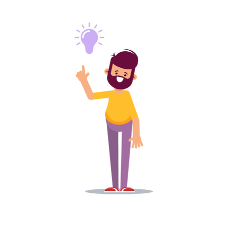 Concept of a great idea. Man shows gesture. Solution of the problem.Vector illustration in cartoon style
