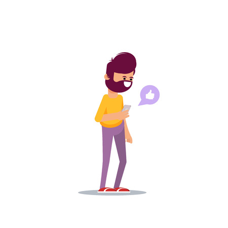Bearded man is holding a smartphone in his hand. Communication in the network, dating sites and social networks.Vector illustration in cartoon style  イラスト・ベクター素材