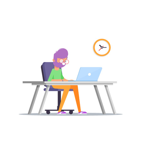Handsome man is working at his laptop. Vector illustration in cartoon style