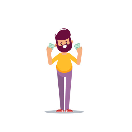 Joyful man with banknotes of money in his hands. Vector illustration in cartoon style.