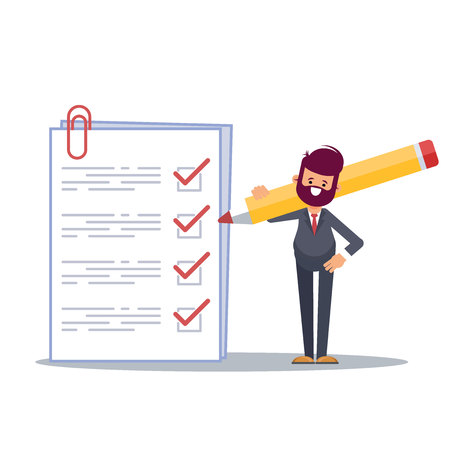 Positive business man with a giant pencil on his shoulder nearby marked checklist on a clipboard paper. Successful completion of business tasks.