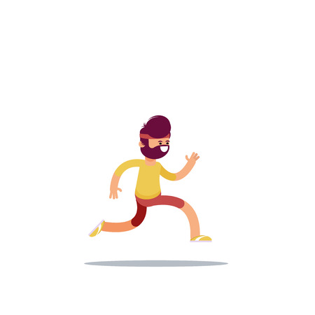 The young man is running. Athlete jogging. Vector illustration in flat style.