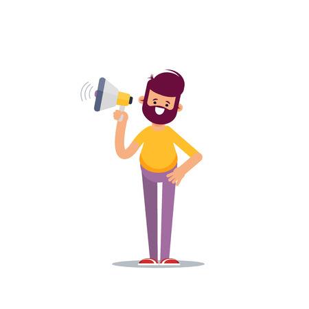 A businessman in formal suit holding megaphone and shouting in it. Cartoon character - manager with bullhorn. Business concept. Vector flat design illustration.  イラスト・ベクター素材