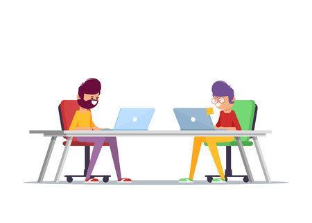 Teamwork. Discussion of the companys business strategy. Vector illustration in a flat style - Vector
