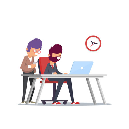 Teamwork. Discussion of the companys business strategy. Vector illustration in a flat style - Vector illustration  イラスト・ベクター素材
