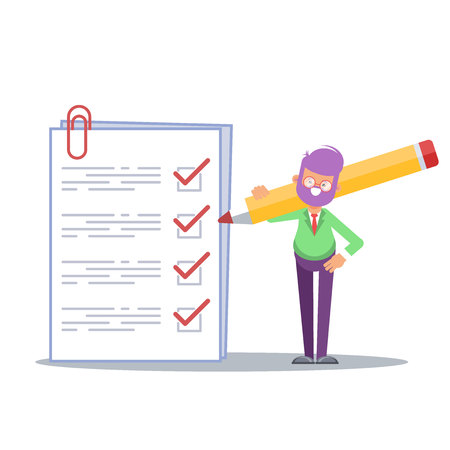 Positive business man with a giant pencil on his shoulder nearby marked checklist on a clipboard paper. Successful completion of business tasks. Flat vector illustration. - Vector
