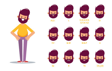 Set of the position of the lips when pronouncing words for the animation of the talking character. Vector illustration in cartoon style