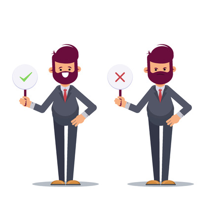 Business man showing check mark confirmation or approval and reject cross mark sign placards. Business man holding disapproval placard. Positive negative signs. . Flat vector illustration. - Vector