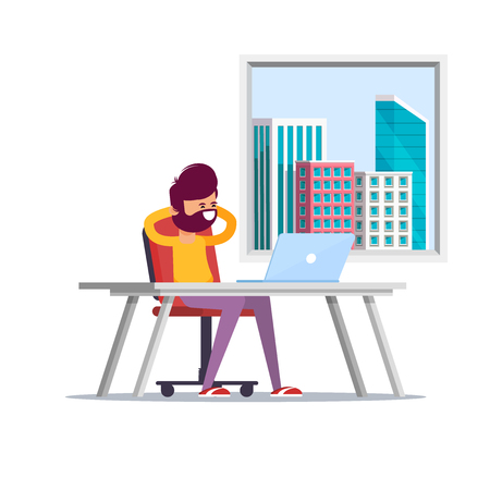 Cool vector flat character design on relaxed businessman sit back on his workplace chair. Satisfied office worker got his work done. . Flat vector illustration. - Vector
