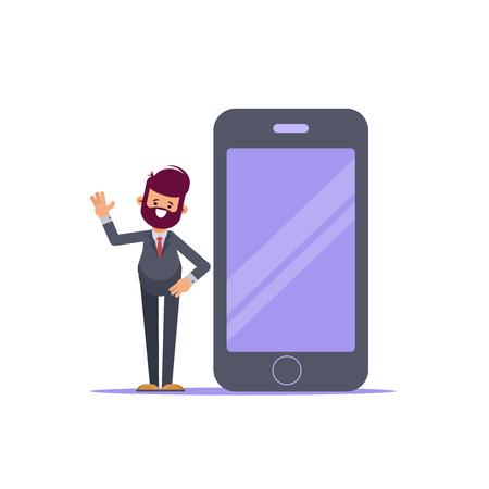 Businessman talking beside big smart phone with blank screen. Flat vector illustration. - Vector  イラスト・ベクター素材