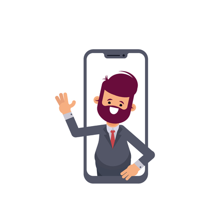 School or university teacher explaining something on a internet video call or chat from a tablet computer. Professor sticking out of smartphone screen. Modern flat style vector illustration. Flat vect