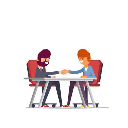 Business man partnership beginning. Businessman partners shaking hands after signing contract agreement closing deal sitting at negotiations table. Flat vector illustration. - Vector  イラスト・ベクター素材