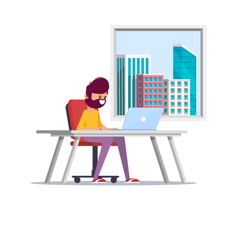 Young handsome Businessman is sitting legs crossed typing something on the desktop computer and friendly smiling. Business concept office work. Flat vector illustration. - Vector  イラスト・ベクター素材