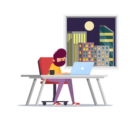 Feeling exhausted. Tired young man sitting at his working place with computer in office. Business concept. Flat vector illustration. - Vector