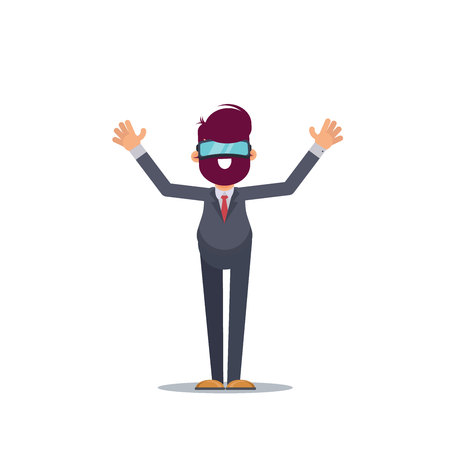 A young man in formal suit wearing virtual reality goggles and headset with a projection of a digital world. Business concept. Flat vector illustration. - Vector