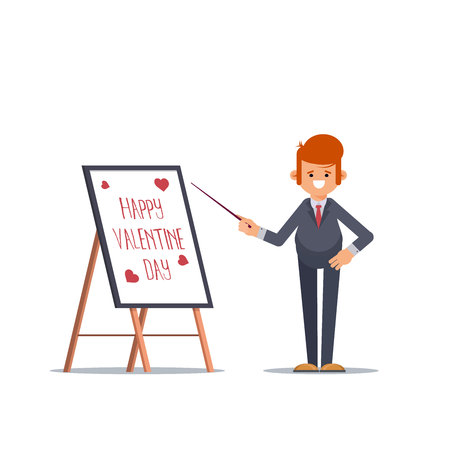 Businessman in a suit and tie, making a presentation, Valentines Day. Business seminar. Flat Vector Illustration - Vector