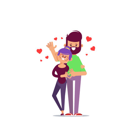 Couple in love. Man and woman embracing each other affectionately. Characters for the feast of Saint Valentine. Vector illustration in cartoon style
