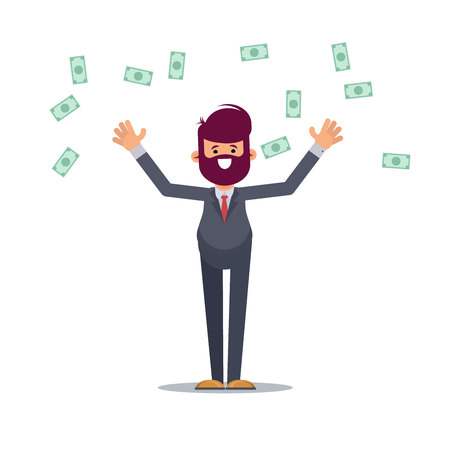 Dollars raining down on business man standing celebrating his victory. Expressing yes gesture with both clenched fists hands. Cash money shower. Rich and successful. Vector illustration in cartoon sty  イラスト・ベクター素材