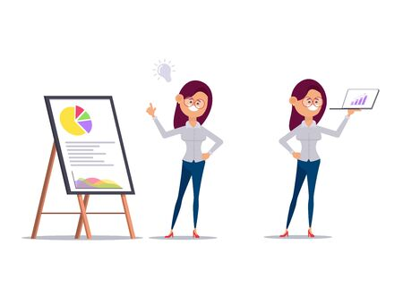 set of business woman working in office character vector design.  イラスト・ベクター素材