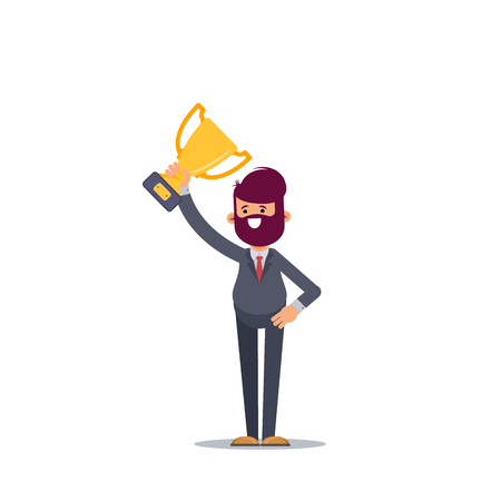 Successful cute businessman holding a trophy, Vector illustration in cartoon style