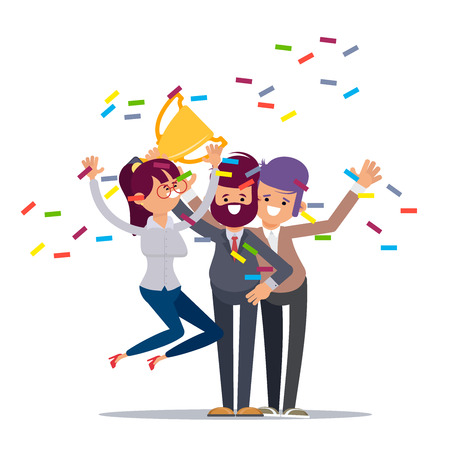 Win achievement. Happy company employee awarding a trophy prize to their leader. Business vector illustration. Business company party advertising with corporate members.Vector illustration in cartoon