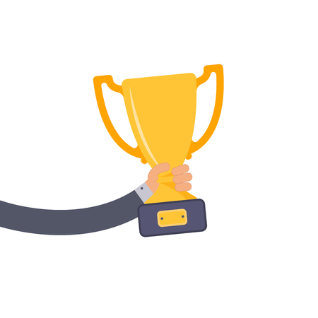 Creative flat design vector concept on businessman hand holding gold cup award icon. Winner prize goblet. Vector illustration in cartoon style