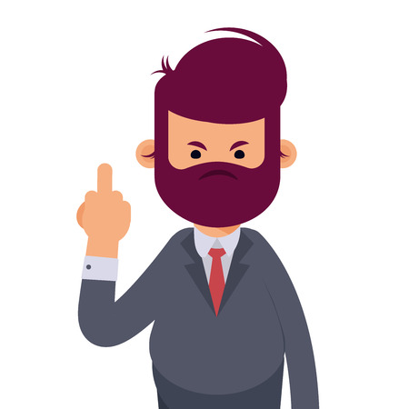 Man is showing the middle finger. Obscene gesture. Vector illustration in cartoon style Ilustrace
