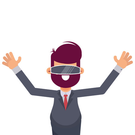 Man in glasses of virtual reality on a white background. Vector illustration in cartoon style