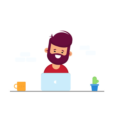 Handsome man is working at his laptop. Modern office interior with work process icons on the background. Vector illustration in cartoon style