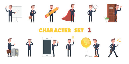 Set of Businessman character design. Vector illustration in a flat style.  イラスト・ベクター素材