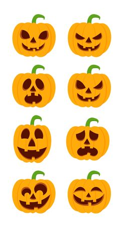 Set of halloween pumpkins, funny faces. Autumn holidays. Vector illustration EPS10.