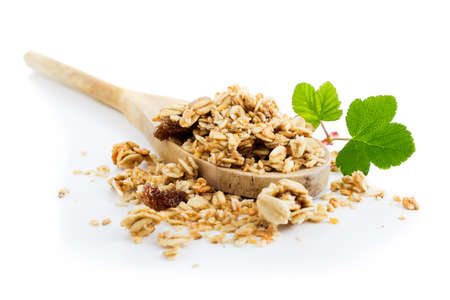 Muesli,  healthy breakfast on white