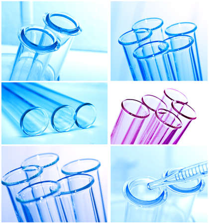 Test tubes closeup on blue background   Banco de Imagens