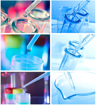 chemical industry: Test tubes closeup on blue background