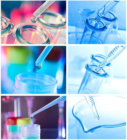 industria quimica: Tubos de ensayo sobre fondo azul closeup