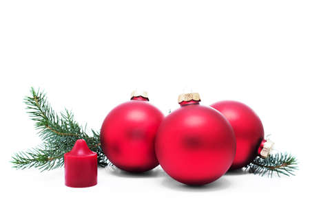 glass christmas tree ornament: Christmas decoration with christmas balls and candlelight, isolated white background