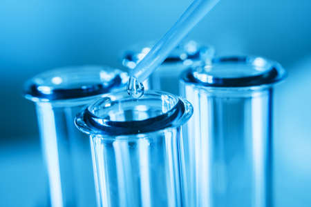 Test tubes  on blue background.