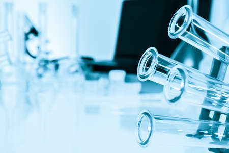 Test tubes closeup  medical glassware