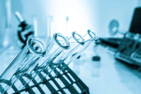 Test tubes closeup  medical glassware photo